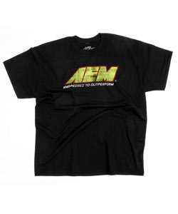 AEM-01-1306-XXXL T-Shirt; AEM Logo Distressed, Black - 3X