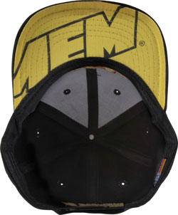 Bottom view of the flat billed black AEM snapback hat