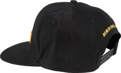 Back view of the flat billed black AEM snapback hat