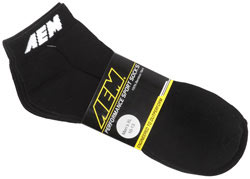 Black AEM logo sport socks are available in Large and X-Large.