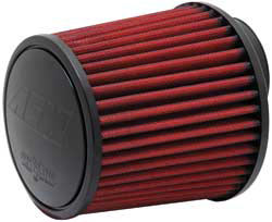 AEM DryFlow air filters feature a synthetic media and no oiling is required