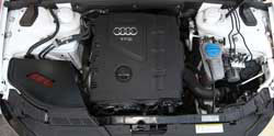 Installing AEM Audi A4 & A5 air intake, number 21-750, results in quicker acceleration, a sportier engine sound, and improved drivability while maintaining a factory-like fit and finish