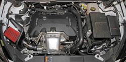 A 2014 Chevrolet Malibu Turbo 2.0L running an AEM 21-794C Cold Air Intake System