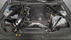 A 2015 Hyundai Genesis Sedan 3.8L with an AEM 21-796C Cold Air Intake System installed