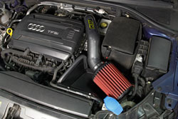 Closeup of an AEM 21-802C Cold Air Intake installed on a 2015-2016 Audi A3 2.0T
