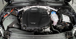 The large AEM air box accomodates an oversized Dryflow air filter for increased power