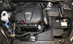 Utilizing the stock air box maintains the use of the factory cold air inlet near the front end