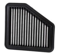The front or top of the filter is red, while the back of the filter is white, showing that the airflow goes through the lofty red side, trapping contaminants