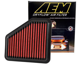 The synthetic AEM 28-20326 DryFlow Air Filter is reusable and guaranteed for life