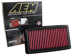 The synthetic AEM 28-50041 DryFlow Air Filter is washable & guaranteed for life