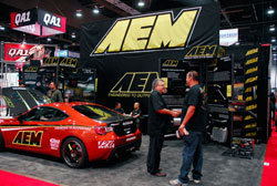 The 2012 AEM SEMA booth displayed the latest products such as strut bars and exhaust kits