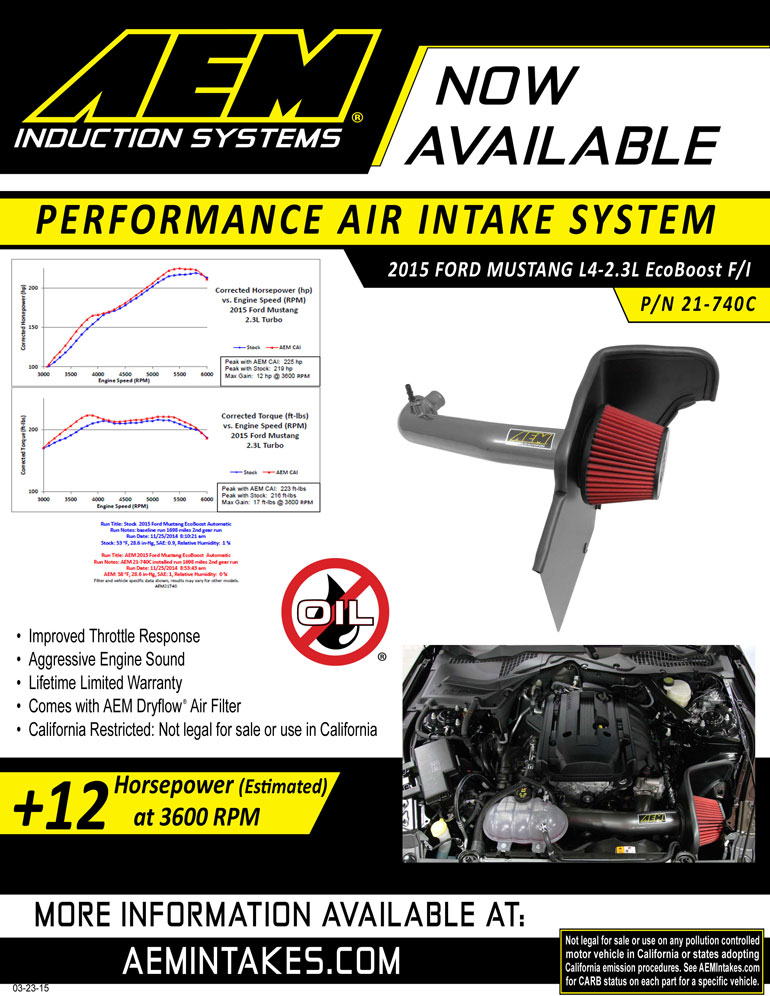 AEM Sell sheet for select 2011-2014 Ford Mustang Models Cold Air Intake