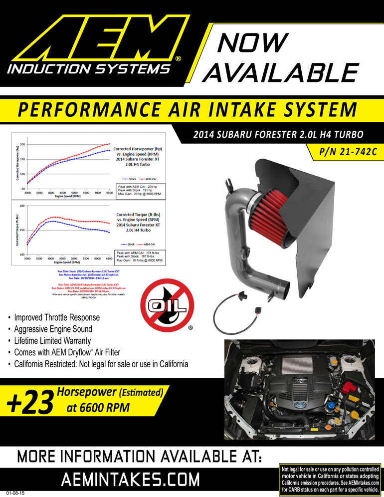 AEM Sell sheet for 2014 Subaru Forester 2.0L cold air intake