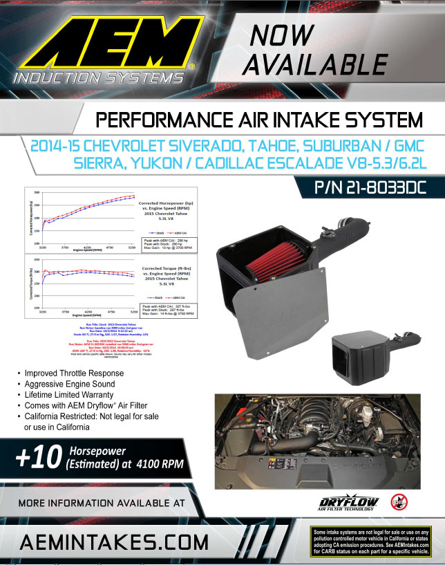 New 50 state legal aem air intake system 21-8033DC