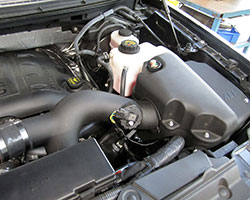 AEM Air Intake System 21-8126DS is engineered with an oversized air box and new coolant reservoir for the 2011-14 Ford F150 EcoBoost turbo V6