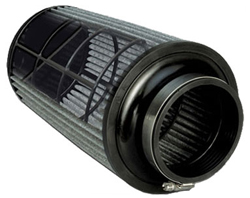 This cutaway illustration shows the reinforced cage inside an AEM DRYFLOW air filter