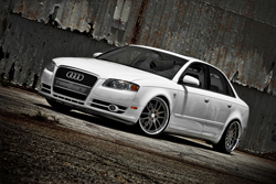 A modified Audi A4 is seen here in Audi's Ibis White color