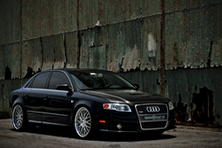 Audi's Brilliant Black color is seen here on a modified A4 model