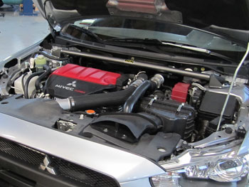 AEM Mitsubishi Lancer Evolution 2.0L Strut Bar Installed