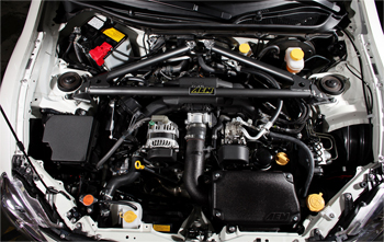 Engine Bay with AEM 29-0009 Strut Tower Bar Installed