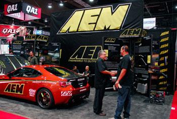The AEM booth at SEMA 2012