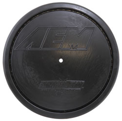 AEM clamp-on Dryflow air filter, number 21-2147D-HK, has a hole molded into the air filter top for the AEM Filter Minder<sup>&reg;</sup> Gauge