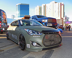 Korean built cars, like the 2014 Hyundai Veloster turbo 1.6L model pictured here can receive a performance upgrade with reusable replacement AEM Dryflow Air Filter 28-20472