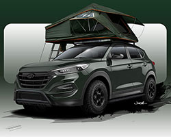 The JP Edition 2016 Hyundai Tucson Adventuremobile will be revealed at Hyundai's 2015 SEMA press conference on November 3, 2015 at 11:30 a.m. PT, in Las Vegas, Nevada
