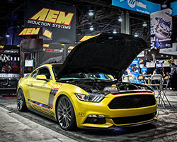 Given AEM's experience in improving the performance of small displacement and turbocharged engines, AEM featured a 2015 Ford Mustang EcoBoost at the 2015 SEMA Show