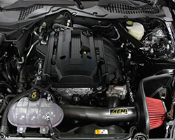 AEM Cold Air Intake System, number 21-740C, was shown to provide an estimated additional 12 HP at 4,500 RPM to the rear wheels of a stock 2015 Ford Mustang 2.3L EcoBoost