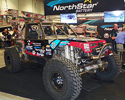 AEM air filter equipped # 20 Nitto Tire/Northstar Battery/KMC wheels Ultra 4 Race Car on display in the Northstar Battery 2015 SEMA Show booth