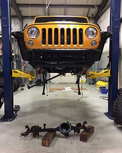 Mike Kim installed ARB air lockers, cromoly axle shafts, an under belly skid plate system and other body armor pieces on his Jeep Wrangler JK Unlimited Rubicon