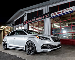 The JP Edition 2015 Hyundai Sonata Sport 2.0T was modified with many cosmetic improvements as well as upgrades from AEM Intakes
