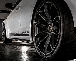 The JP Edition 2015 Hyundai Sonata Sport 2.0T rolls on 19-inch Rays Gram Lights 57Getter wheels