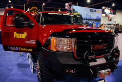 GMC Sierra 3500 Crew Cab used AEM products for Air Filtering Needs at the SEMA Show