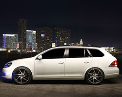 An R-Line sport front bumper with clear side marker lights adds to the Jetta SportWagen's looks