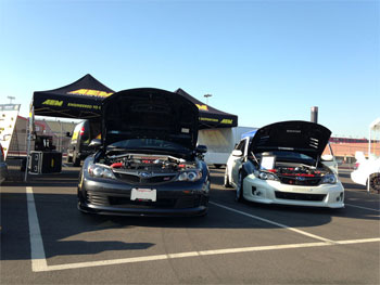Subaru STi and WRX at Subiefest 2013 with AEM 21-478WR and 29-0004C and 29-0004WR