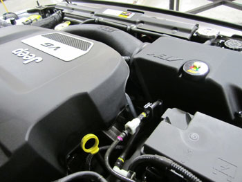 AEM 21-8316Ds under the hood of 2013 Jeep JK 3.6L