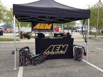 AEM booth at Subiefest 2013 during set up