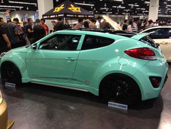 John P's Mint Green Hyundai Veloster with AEM Intake st 2013 Spocom