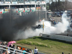 Between the rounds an organized burnout competition began with a select few contenders.
