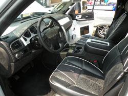 Suede and Vinyl Interior with Double White Stitching