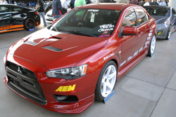 Chaney's ambitions for his red Mitsubishi Lancer EVO X stem far beyond the 2011 SEMA Show