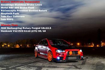 This AEM performance modified Mitsubishi Evo X GSR was at the SEMA Show