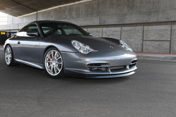 Philip Klotz's modified 2004 Porsche 996 GT3 uses custom air intake and AEM Universal Air Filters
