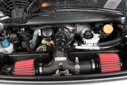 2004 Porsche 996 GT3 with AEM Universal Dryflow air filters on custom intake