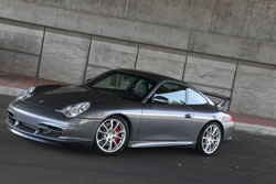 AEM Universal Air Filters are ideal for custom setups like this 2004 Porsche 996 GT3