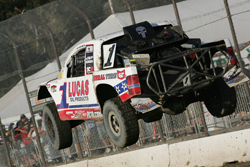 Carl Renezeder is seen here jumping over a tabletop section at Lake Elsinore Motorsports Complex