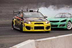 Tanner Foust in his Rockstar Energy Scion