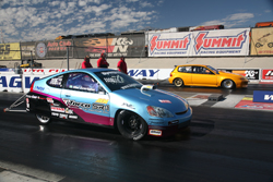 Bisimoto Engineering's All-Motor Honda Insight at the dragstrip